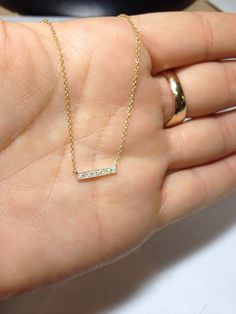 Cute Solid 14k Gold Short Diamond Bar Necklace by Deonlidesigns, $239.99
