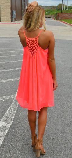 Summer dresses summer outfits women - Fluorescent Red Plain Condole Belt Back Hollow-out Chiffon Dress Vetements Shoes, Casual Dresses, Mini Dresses, Dresses Dresses, Fashion Dresses, Woman Dresses, Daytime Dresses, Dresses Online, Neon Dresses