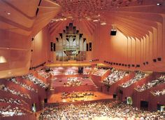 """Sydney Opera House Concert Hall. Stunningly gorgeous, couldn't hear a thing singing from the posterior choir """"loft"""" below the organ pipes."""