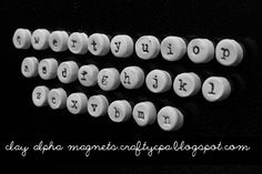 Super cute - polymer clay typewriter key magnets. This project could work for so many things.