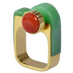 Richard Chavez Turquoise Coral Gold Modernist Ring