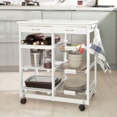 Amazon.com: Sobuy Wide, solid wood, kitchen trolley with shelves & drawers, FKW04-W: Home & Kitchen