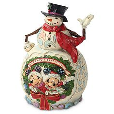 Enesco Disney Traditions by Jim Shore Snowman with Mickey and Minnie Figurine, Jim Shore Christmas, Disney Christmas, Christmas Snowman, Disney Holidays, Christmas Stuff, White Christmas, Happy Holidays, Disney Figurines, Christmas Figurines