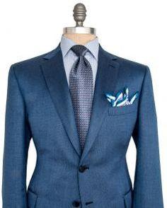 Image of Brioni Blue Birdseye Sportcoat Sharp Dressed Man, Well Dressed Men, Suit Fashion, Mens Fashion, Black Suit Vest, Beard Suit, Dapper Men, Gentleman Style, Sport Coat