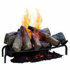 """Showcasing hand-finished ceramic logs and realistic flames, this electric fireplace insert adds a cozy touch to your hearth.   Product: Electric fireplace insert  Construction Material: Metal and plastic Color: Black Features:  Hand-finished logs with natural inner glow and pulsating embersFits into any fireplace openingRevolutionary ultrasonic technology produces a fine water mist On/Off remote controlDimensions: 12"""" H x 28"""" W x 14"""" DNote: Flame only - does not produce heat."""