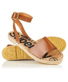 Superdry women's Sofia strap espadrille sandals. A pair of sandals featuring an ankle strap and the classic espadrille sole. The sandals are finished with embossed Superdry logos on the underside of the sole. Espadrilles, Espadrille Sandals, Superdry, Ankle Strap, Sportswear, Wedges, Pairs, Brown, Shopping