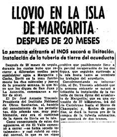 Llovió en Margarita luego de 20 meses. Publicado el 1 de noviembre de 1955.