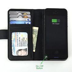 iPhone 5/5S 2-in-1 Leather Wallet Case + Rechargeable Battery Case