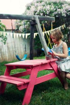 Kinderpicknicktafel, om zelf te maken van steigerhout.
