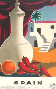 'Spain' Wonderful Glossy Art Print Taken From A Vintage Travel Poster (Vintage Travel / Transport Posters) Framed Canvas Prints, Wall Prints, Canvas Frame, Poster Prints, Poster Wall, Vintage Advertisements, Vintage Ads, Scrapbooking Image, Spain Tourism