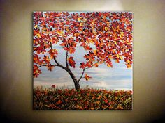 I wish I could paint something like this!! Original Autumn PaintingLandscapeFallTreePalette by myworldn, $199.00