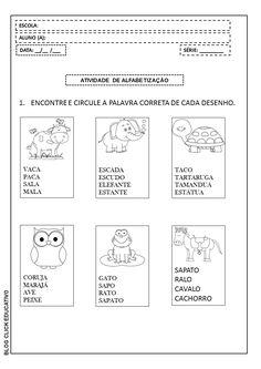 Click Educativo - Educação é o lema!: Atividade de Alfabetização para imprimir: Discriminação visual de imagens e palavras