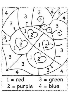"Valentine's Day Math Activities: Lady bug hearts color by number. Great for one of those ""my brain is fried"" days. Valentine Theme, Valentine Day Crafts, Valentine Ideas, Valentine Colors, Valentines Day Coloring, Valentine Nails, Kindergarten Math, Preschool Activities, Color By Number Printable"