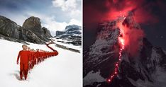 The sheer cliff wall or snowy, wind-blasted peak of an icy mountain is a rough place to create large-scale photographic works of art, but that's exactly what Swiss photographer Robert Bösch does. His photos can involve hundreds of mountain climbers braving difficult conditions to get the perfect shot.