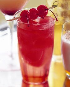Cherry Bomb   (Serves 6)  (1 cup grenadine  1 liter clear citrus soda, or seltzer  18 maraschino cherries)