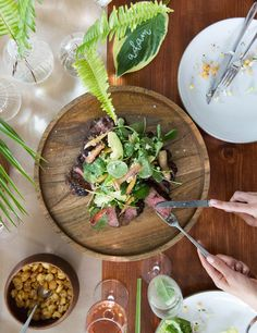 NY strip steak salad by South Congress Hotel Paleo Dinner, Dinner Recipes, Salad Recipes, Vegan Recipes, Vegan Food, Healthy Food, Israeli Couscous Salad, Ny Strip Steak, Classic Caesar Salad