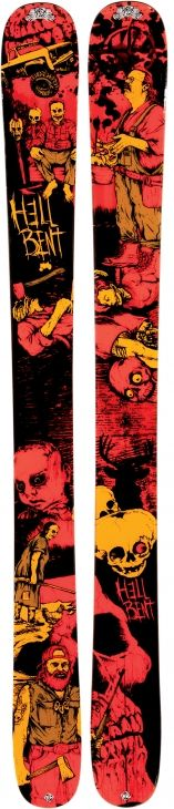 K2 Hellbent powder skis....  If i could skiing, i would taste him...