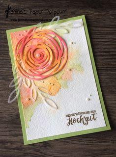 jpp - Swirly Card /Watercoloring / Flirty Flamingo / Peekaboo Peach / Stampin' Up! Berlin / Swirly Scribbles /Rose Wonder