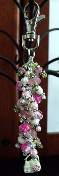 Beaded Handbag Charm Zipper Pull  SHOPAHOLIC by uniquelyyours2010