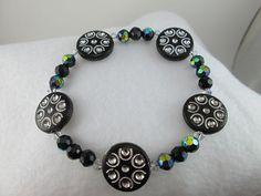 Starry Starry Night Black Stretch Bracelet/ by BagsBeadsBeautified