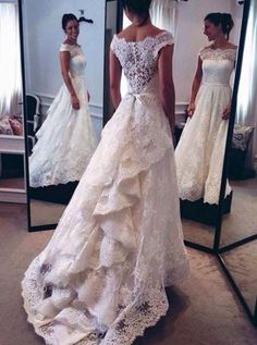 Special Off Shoulder Cap Sleeves Tiered Lace Wedding Dress with Sweep Train Sash