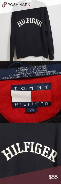 """90's Tommy Hilfiger Vintage Crewneck Sweatshirt XL Vintage 90's Tommy Hilfiger Crewneck Sweatshirt  - Great Condition  - Original 90's Vintage  - Hilfiger spell out  - Extremely minor signs of use - Black - Size L  Measurements (inches):  Pit to pit - 24"""" Shoulder to shoulder - 22"""" Chest - 48"""" Sleeves - 24"""" Back length - 28""""  Any questions feel free to ask  Thank you Tommy Hilfiger Sweaters Crewneck"""
