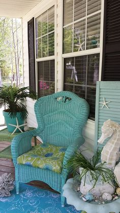 I like this wicker chair color combo blue/green. Sea and Shore Animal Garden Statues for Decor, Fun & Function. Beach Cottage Style, Coastal Cottage, Coastal Style, Beach House Decor, Coastal Decor, Coastal Farmhouse, Coastal Living, Goin Coastal, Seaside Style