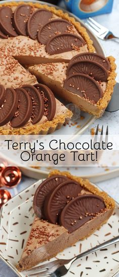 No-Bake Terry's Chocolate Orange Tart! - Jane's Patisserie - No-Bake Terry's Chocolate Orange Tart! – Jane's Patisserie - Tart Recipes, Cheesecake Recipes, Sweet Recipes, Baking Recipes, Dessert Recipes, Cheesecake Bars, Fudge Recipes, Just Desserts, Delicious Desserts