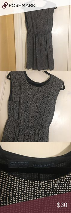 Zara Polka Dot Dress Zara Polka Dot Dress cinched at the waist. Flowy at the bottom. Size large. Zara Dresses