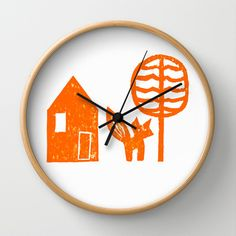 House Fox Tree Wall Clock by Aprille Broomhead - $30.00