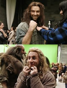 Aidan Turner and Dean O'Gorman after their last shot filming the Hobbit. They are so cute!!