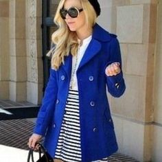 I just discovered this while shopping on Poshmark: Royal blue wool peacoat trenchcoat winter black. Check it out!  Size: M