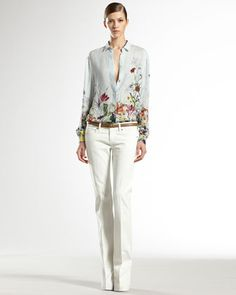 Flora Infinity Printed Silk Shirt & Washed Denim (Gucci)