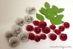 paper roses tutorial: http://www.sarahortega.com/2011/06/homemade-cards-quick-and-easy-version.html