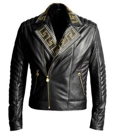 Versace Men's Leather Studded Jacket.