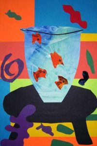 "Students in first and second grade created striking collages made from  a variety of images similar to those designed by Henri Matisse.  In reference to his paper cutouts, Matisse stated, ""I cut pa..."