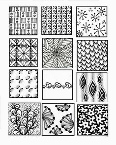 Zentangle Patterns for Beginners Sheets - Bing images Tangle Doodle, Tangle Art, Zen Doodle, Doodle Art, Doodle Designs, Doodle Patterns, Zentangle Patterns, White Patterns, Zentangle Drawings