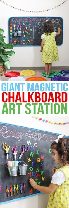 DIY riesige magnetische Tafel-Kunst-Station How to create an awesome child's art station. It's a large magnetic chalkboard with attached storage space for art supplies and the whole thing hangs on the wall. It would be the perfect addition to a playroom a Chalkboard Wall Kids, Chalkboard Wall Bedroom, Magnetic Chalkboard, Magnetic Wall, Childrens Bedroom Storage, Kids Storage, Storage Ideas, Playroom Storage, Kitchen Storage