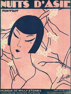 taishou-kun Japanesque : René Magritte (1898-1967) - Nuits d'Asie - Fox-trot cover illustration - sheet music - Belgium - 1925 Source :...
