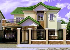 Two Story House Design, Small House Design, Dream Home Design, Modern House Design, My Dream Home, Small House Plans, House Floor Plans, Fence Gate Design, House Outside Design