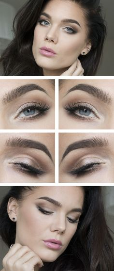 "Perfect everyday makeup look. Linda Hallberg ""Just an Ordinary Girl"" - casual shimmery soft smokey eye and neutral pink lipstick. Great everyday makeup for work or school. Casual and understated. Gorgeous."