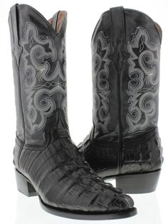 13875be11c2f Men s Crocodile Alligator Tail Black Leather Cowboy Western Boots Biker  Rodeo