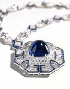 Sautoir by Bulgari, platinum, diamond, and sapphire