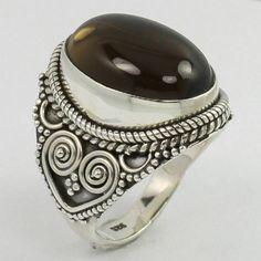 Designer Ring Size UK N Natural SMOKY QUARTZ Gemstone 925 Solid Sterling Silver #Unbranded #Fashion Sterling Silver Jewelry, Gemstone Jewelry, Smoky Quartz Ring, Silver Jewellery Indian, Ring Designs, Jewels, Gemstones, Natural, Fashion