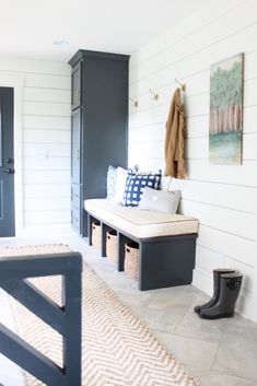 Today, I am sharing my mudroom. Half of the mudroom has been finished since we remodeled the house. We just finished the dog bed area last week. Having a handy husband is a blessing and a curse. Mudroom Laundry Room, Vestibule, Stylish Home Decor, Ship Lap Walls, Dog Bed, Home And Living, Home Remodeling, Decoration, Family Room