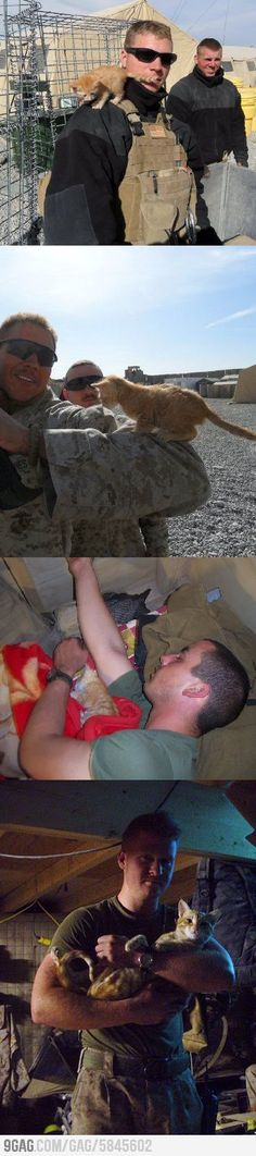 So glad this kitten could bring such happiness for this soldier and vice versa.