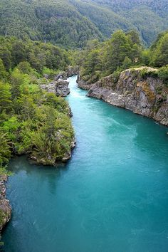Deep blue glacial waters of Futaleufú River, Chile