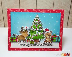Lawn Fawn Toboggan Together & Critters In The Forest Christmas Card by Heidi Criswell.