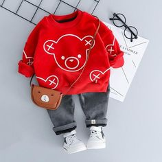 Baby Girl Boy Clothing Sets Autumn Winter Plush Infant Clothes Suits Cartoon Children Kids Casual Co Baby Bear Outfit, Baby Boy Suit, Toddler Boy Outfits, Baby Outfits Newborn, Kids Outfits, Baby Boy Fashion, Toddler Fashion, Kids Fashion, Fashion Usa