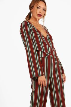 68f921b15d228a Hannah Stripe Wide Sleeve Wrap Top